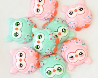 26x23mm Kawaii Japanese Cartoon Owl resin flatback cabochon scrapbooking miniatures free shipping