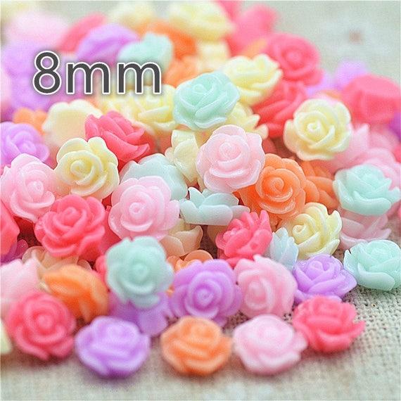 Multi coloured Rainbow Mix Resin Flatback Craft Flowers Roses Choose Colour Mix