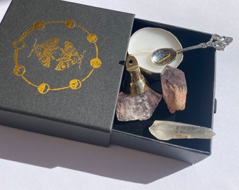 Pocket Witchcraft Kit mini wiccan altar set crystals candle spoon bell