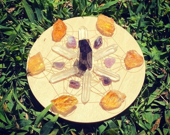 """Small crystal grid Metatron crystal grid witchcraft Wicca altar kit tools supplies Crystals Wood crystal grid 4"""""""