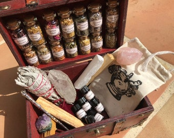 WITCHCRAFT KIT ~ witch alter sets ~ wand kit ~ witch kits ~ potion kit ~ crystal witchcraft ~ spellbook ~ book of shadows ~ cigar box