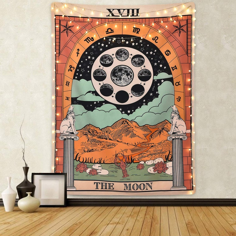 The Moon Tapestry vintage european wall hangings witchcraft image 0