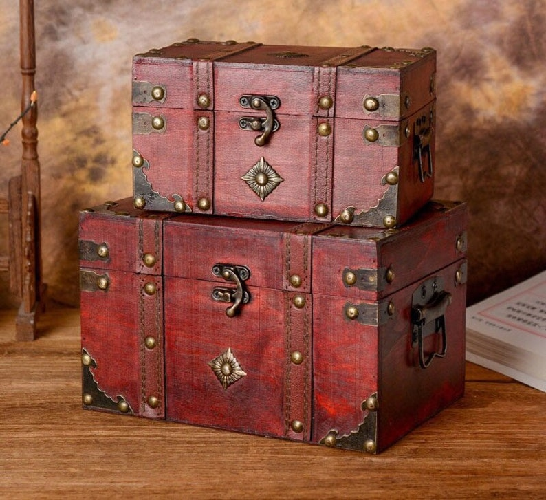Magic chest wooden box witchcraft chest wooden red box image 0