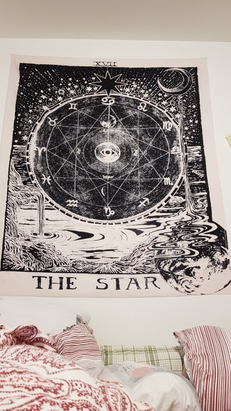 vintage european wall hangings witchcraft ouija tapestry sun image 0