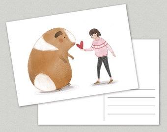 Guinea-pig love Postcard - valentine - girl - heart - friendship - cavia - A6