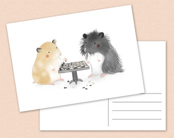Hamster chess Postcard - hamsters - syrian hamster - boardgames - A6
