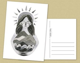 Mother Earth Postcard - illustration - nature - sun - mountains - ocean - woman - A6