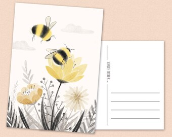 Bumblebee Postcard - flowers - floral - bees - spring - summer - A6