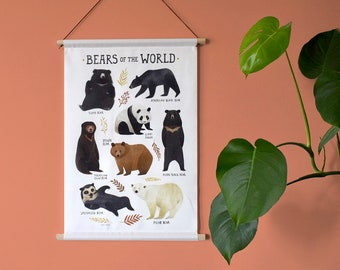 Bear Poster - Bears of the World - textile poster - nursery - kids room - bear - wall hanging - animals - illustration