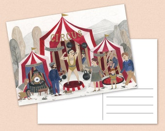 Circus Postcard - illustration - kids - magical - strong man - fortune teller - A6