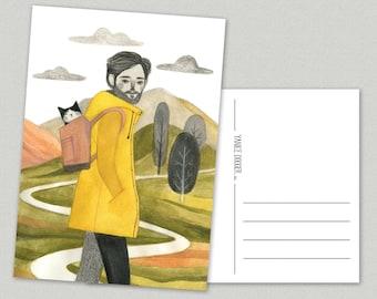 Bon Voyage Postcard - Scotland - cat - travel - hiking - nature - mountains - A6