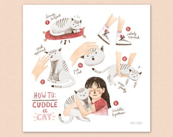 How to cuddle a cat - illustration - art print - cats - 20x20 cm