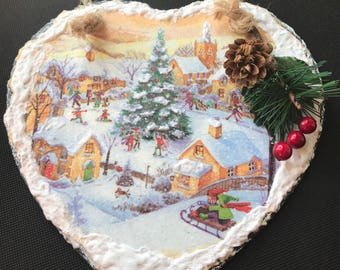 Large Natural Slate Heart Hanger - Snowy Village with Christmas Tree Scene