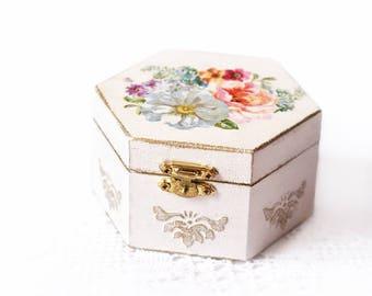 Wooden Decoupage Wedding Box Shabby Chic White Jewelry Storage Box