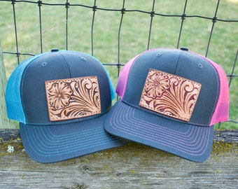 ab42273661797b Tooled leather Patch Hat- Snap back blue and bright pink