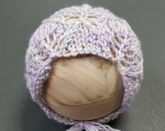 Newborn bonnet - knit bonnet - newborn photo prop - lavender bonnet - lace bonnet