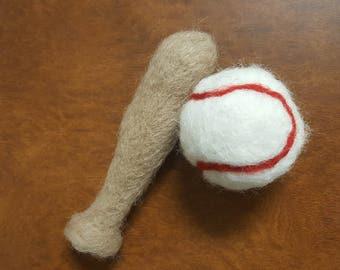 Baseball and Baseball bat - felted baseball set - newborn felted baseball - felted newborn prop