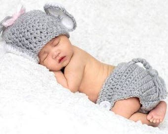 Crochet Baby Elephant Outfit, Great for Newborn Pictures