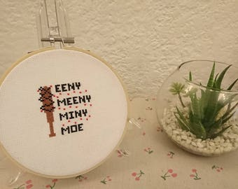 Handmade Completed cross stitch in wooden hoop Eeny Meeny Miny Moe The Walking Dead Neegan Lucille Walkers Zombies. Use Code 25OFF