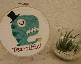 "Handmade Cross Stitch in Wooden Hoop ""Tea-riffic"" Gentleman T-rex drinking tea. Cute Funny Gift. Use Code 25OFF"