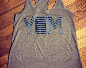 YEM, Phish inspired, womans, racerback tank, soft cotton