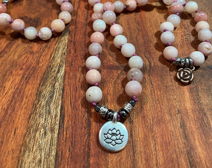 Peruvian Pink Opal Crystal Bead Hand Knotted No Tassel Lotus and Rose Charm Mala  Yoga  108 Prayer Beads  Pink  Lavender  Tierra Cast