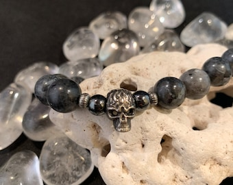 Handmade Stretch Elastic Labradorite and Hematite Bead Men's Bracelet /Skull /Scifi /Fantasy /Cosplay / Charm /