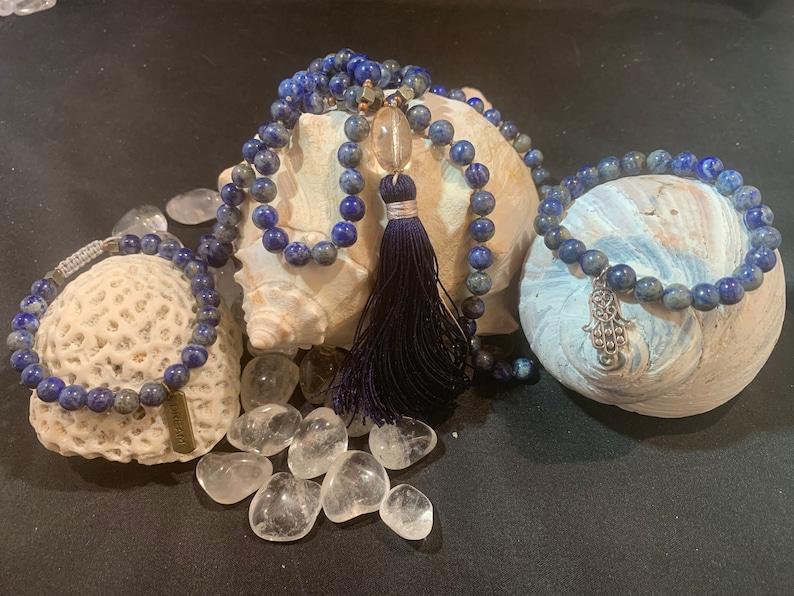 Genuine Lapis Lazuli 8mm Smooth Adjustable Bead Bracelet  Stackable  Dream  Pyrite  Shambala