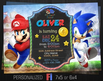 Mario Vs Sonic Invitation Birthday Party Super Game Battle Dandy Games Printable Digital File