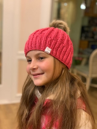 Pink Knitted Cable Hat, Girls 8-12 years.