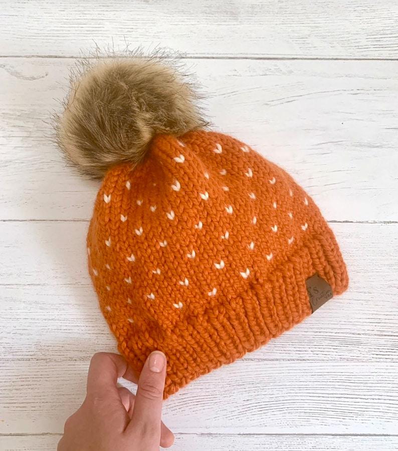 Pumpkin Knit Beanie Hat Mommy /& Me Set Orange Wool Alpaca Beanie with Faux Fur Pom Pom.