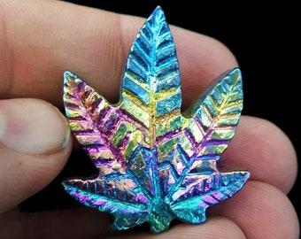 Bismuth Rainbow Pot Leaf