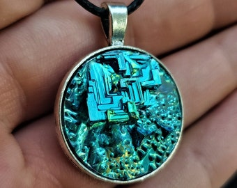 Round Emerald Green Bismuth Crystal Pendant