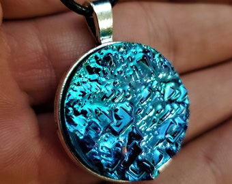 Round Teal Blue Bismuth Crystal Pendant