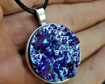 Round Iridescent Purple Blue Bismuth Crystal Pendant