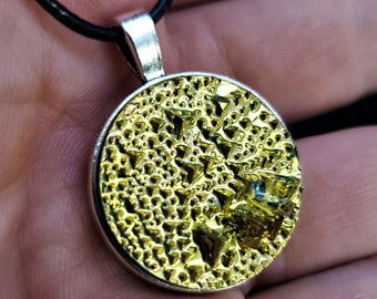 Round Gold Bismuth Crystal Pendant