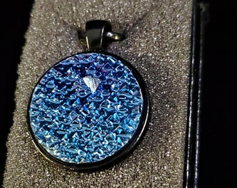 Round Sapphire Blue Bismuth Crystal Pendant
