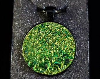 Round Lime Green Bismuth Crystal Pendant