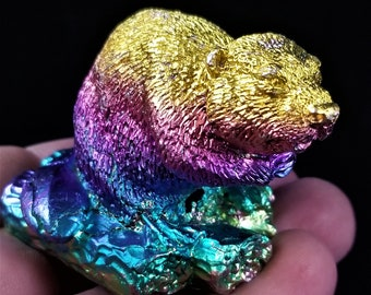 Bismuth Beaver On a Log