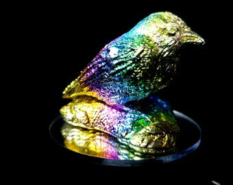 Bismuth Bird with Leaves on Base