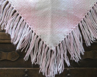 Hand Woven Pink and White Triangle Shawl