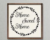 Home Sweet Home, farmhouse style wood framed sign, rustic decor, new home, gallery wall