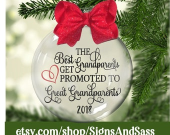 the best grandparents get promoted to great grandparents glass floating christmas ornament new great grandparents