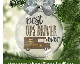 best ups driver glass floating christmas ornament package delivery - Usps Delivery Christmas Eve