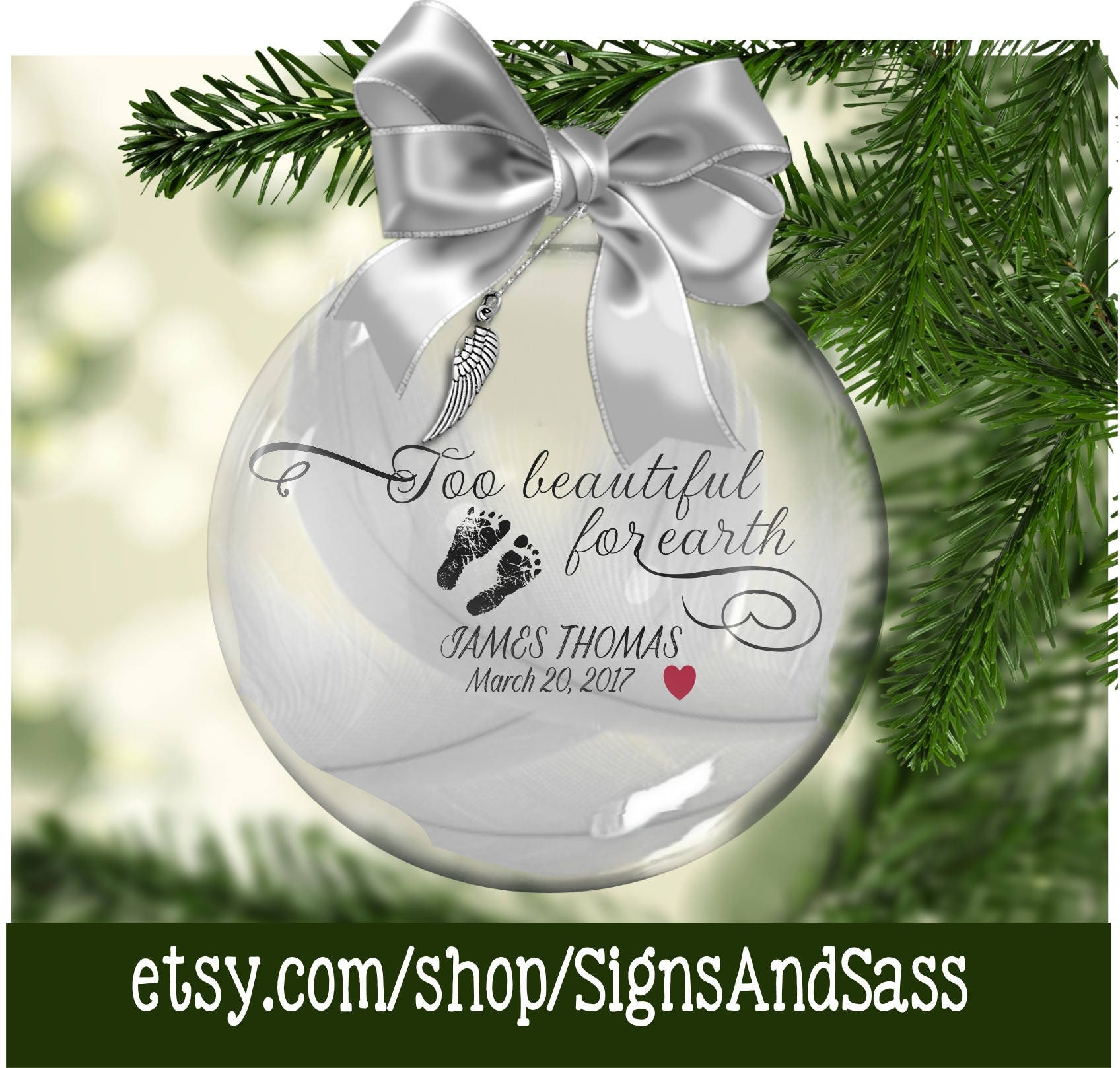 Too Beautiful For Earth Personalized Floating Glass Ornament | Etsy