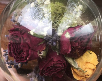 Dried roses, lavender and moss bell jar
