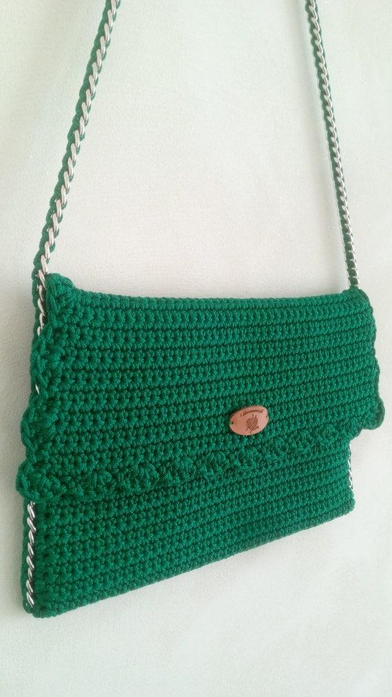 Elegante Clutch Tasche Häkeln Tasche Schultertasche Grüne Etsy