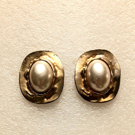 Pearl And Gold Tone Earrings, Vintage Pearl And G… - image 1