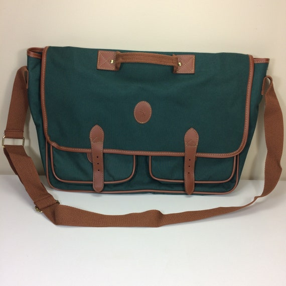 Vintage Ralph Lauren Polo Green Canvas Brown Leather Messenger  8c9e4d942b659