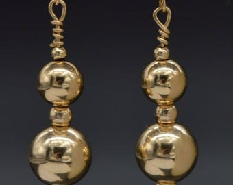 New 14K Solid Yellow Gold Round 8mm Shiny Bead Drop Dangle Earrings BE-133